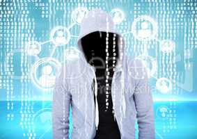 Grey jumper hacker. connect, binary code