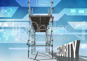 Security Text with 3D Scaffolding and technology interface