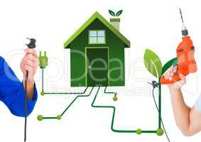 hand with plug and hand with drill with green house background