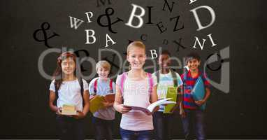 Digitally generated image of children holding books with letters flying against brown background