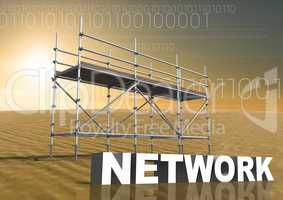 Network Text with 3D Scaffolding and technology interface landscape