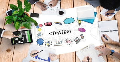 Strategy text by signs and hands of business people