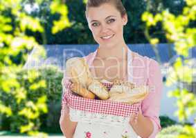 Housewife showing bread basket