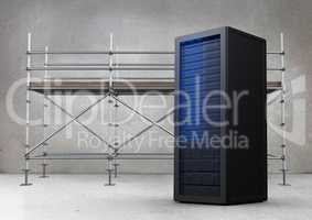 Scaffolding in grey room with blue server