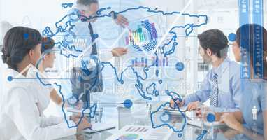 Digital composite image of world map with business people in background