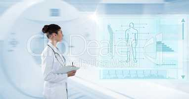 Digital composite image of female with clipboard analyzing human body with interface graphics