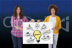 Women holding bill board with innovation graphics