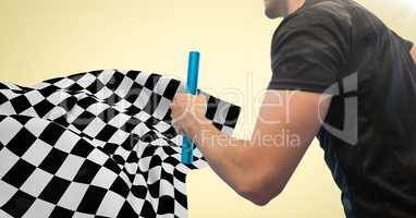 Relay runner mid section and flare against yellow background and checkered flag