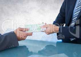 Business money exchange at blue desk against white grunge background