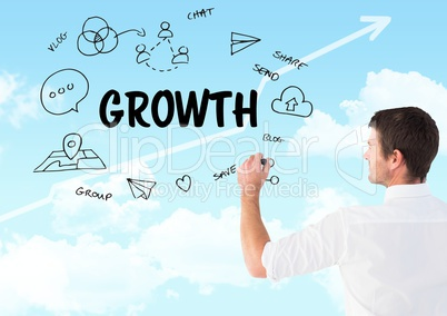 Growth graphic draw by man with sky background