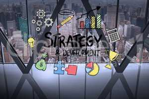 Strategy and development text surrounded by icons