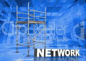 Network Text with 3D Scaffolding and technology interface