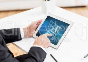 Man using Tablet with Shopping trolley icon