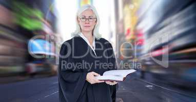 Judge in front of city motion blur