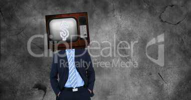 TV on businessman's head with dollar sign on screen