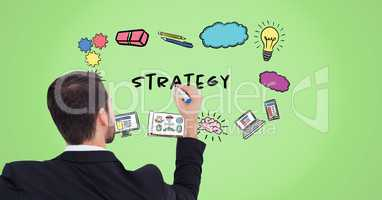 Businessman drawing strategy graphics