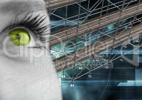 Eye with technology interface and 3D Scaffolding