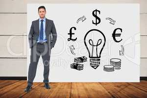Businessman with hands in pockets standing against idea and money graphics on bill board