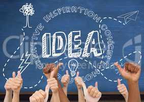 Thumbs up idea, blue blackboard background