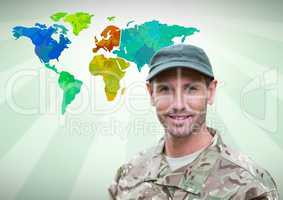 Army soldier man in front of Colourful Map