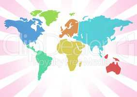 Colorful Map with bright background