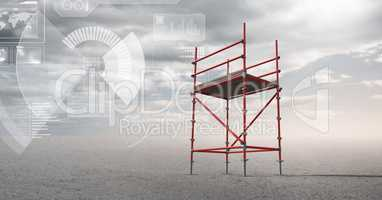 Sky landscape with technology interface and 3D Scaffolding