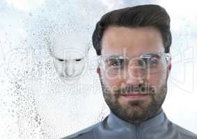 Man in glasses and 3D male shaped binary code against sky and clouds