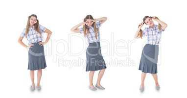 Multiple image of woman with various expressions