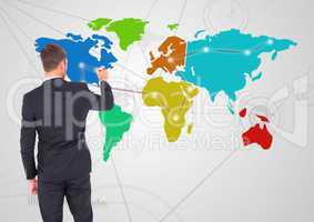Businessman drawing on Colorful Map with Connector background