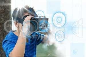 Composite image of kid using virtual reality
