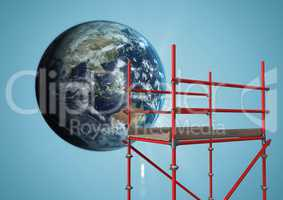 Globe next to scaffolding against blue background