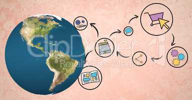 Digital composite image of globe by various icons against peach background