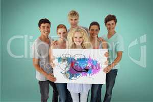 Friends holding billboard with colorful diagram while standing against green background