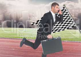 Business man on phone with briefcase and running on track against skyline with clouds and checkered