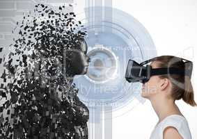 Woman looking at 3d scattered female figure on VR glasses