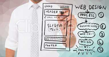 Business man with marker and website mock up against green pink vector mesh