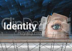 Identity Text with 3D Scaffolding and eye structure