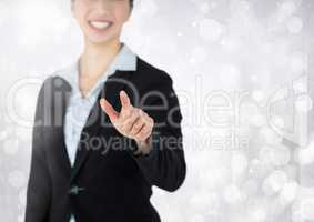 woman touching air with sparkle light background