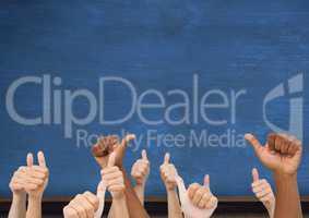 Thumbs up blue blackboard