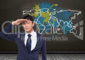Businessman looking ahead with Colorful Map with paint splattered wall background