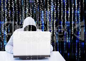 Grey jumper hacker with out face with the computer in the desck