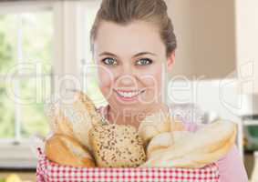 foreground of woman with bread basket