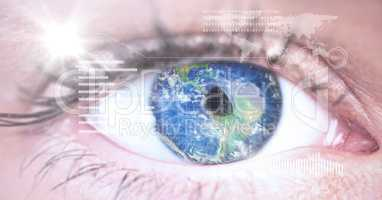 Digital composite image of eye interface