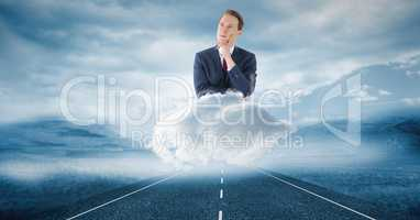Digitally generated image of thoughtful businessman on cloud over road in sky
