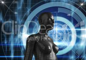 Digital composite image of 3d female
