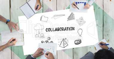 Collaboration text with icons and business people's hands