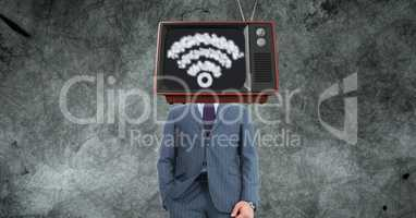 TV on businessman's head with WiFi sign