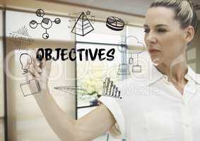 Objectives graphic draw by a business woman in her office