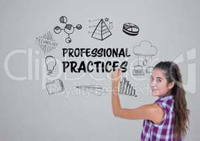 Young woman writing the graphic about professional practice on the wall