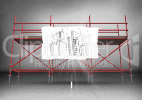 Paper with building doodle against scaffolding in grey room
